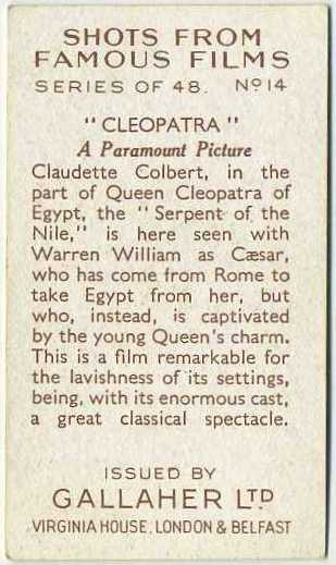 Reverse side of Claudette Colbert and Henry Wilcoxon 1935 Gallaher Shots from Famous Films Tobacco Card #14 - Error with Warren William as Caesar line