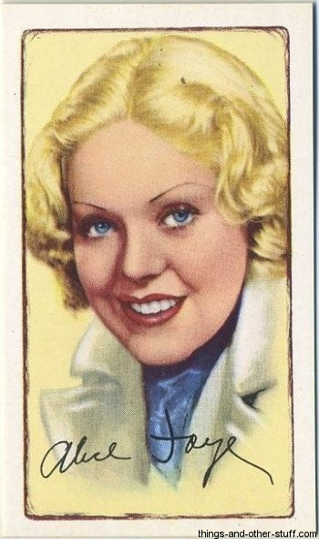 Alice Faye 1934 Gallaher Signed Portraits of Famous Stars Tobacco Card