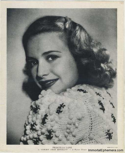 Priscilla Lane circa 1938 R95 8x10 Linen Textured Premium Photo