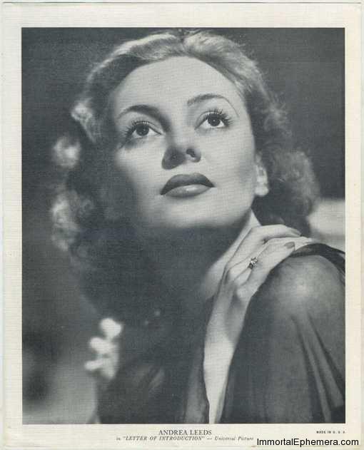 Andrea Leeds circa 1938 R95 8x10 Linen Textured Premium Photo