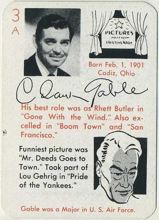 Clark Gable 1945 Autographs Game Card from The Leister Game Company