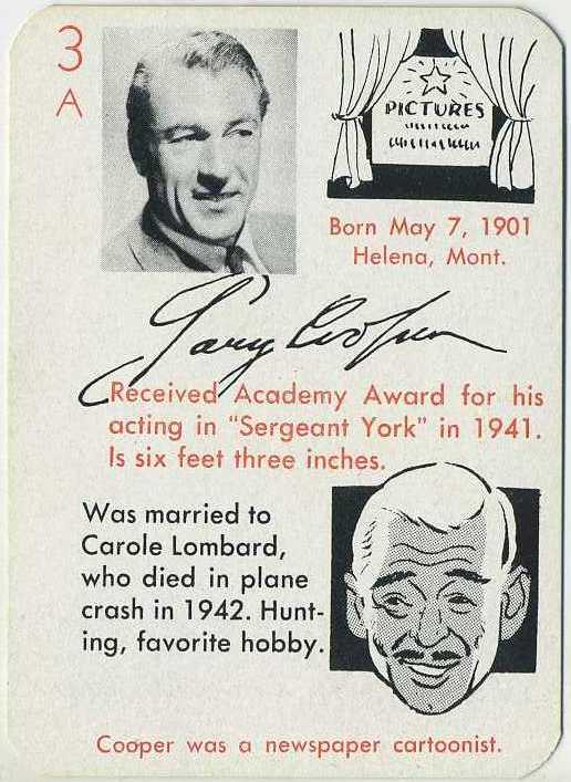 Gary Cooper 1945 Autographs Game Card from The Leister Game Company