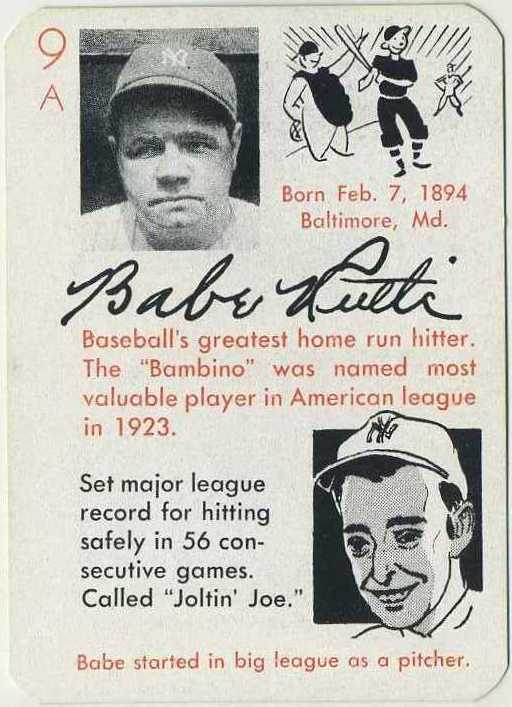 Babe Ruth 1945 Autographs Game Card from The Leister Game Company