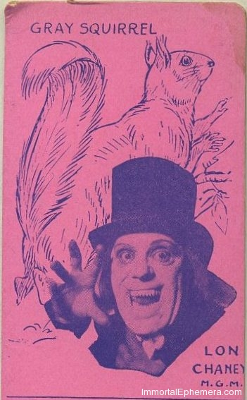 Lon Chaney pictured in London After Midnight on Film Stars and Animals Strip Card