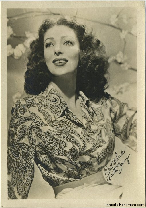 Loretta Young 1940s Era Fan Photo