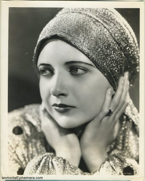 Kay Francis 1933 Vintage Press Photo. From the press tag: Golden Girl: Kay Francis features this evening turban of cloth of gold in her forthcoming Warner picture