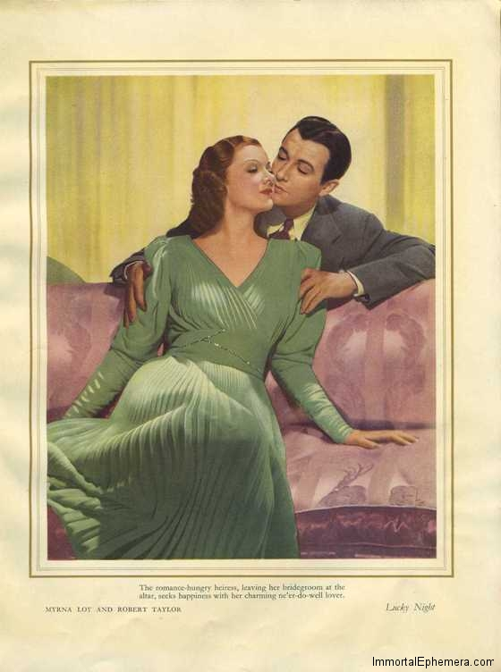 Myrna Loy and Robert Taylor in Lucky Night