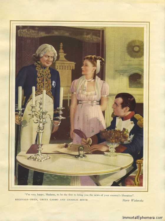 Reginald Owen, Greta Garbo and Charles Boyer in Marie Walewska