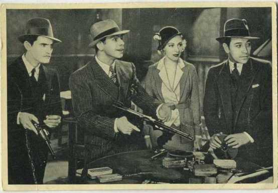 Paul Muni Karen Morley and George Raft in Scarface on 1940 Max Cinema Cavalcade Card
