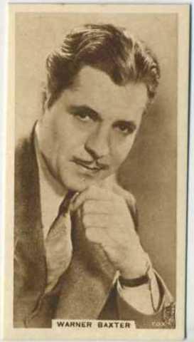 Warner Baxter 1933 United Kingdom Cinema Stars Tobacco Card