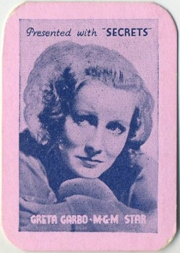 Greta Garbo 1935 Secrets card