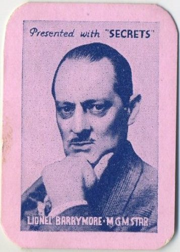 Lionel Barrymore 1935 Secrets card