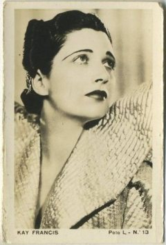 Kay Francis 1938 Polo L Tobacco Card