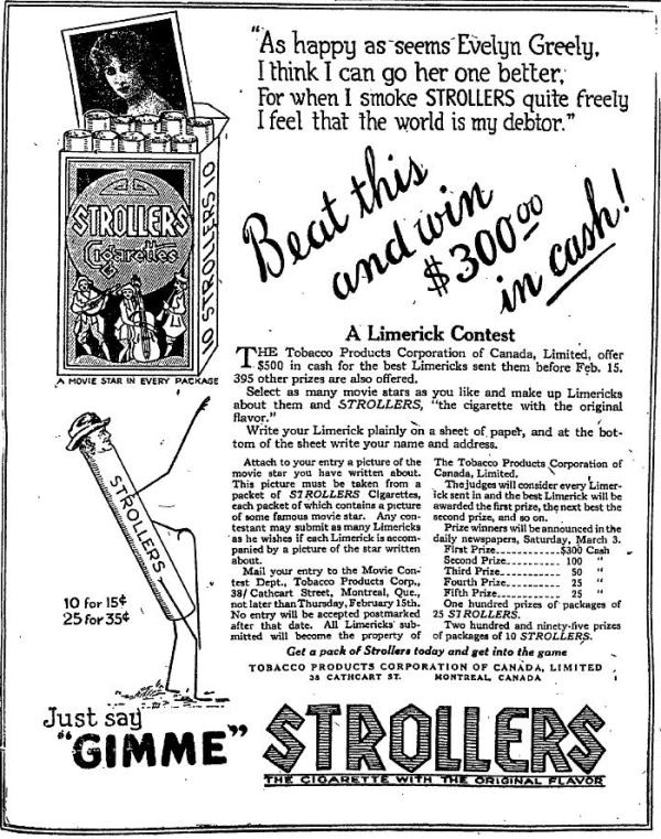 Strollers Movie Limerick Contest January 15 ad