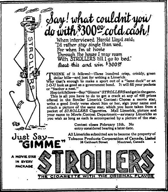 Strollers Movie Limerick Contest January 23 ad