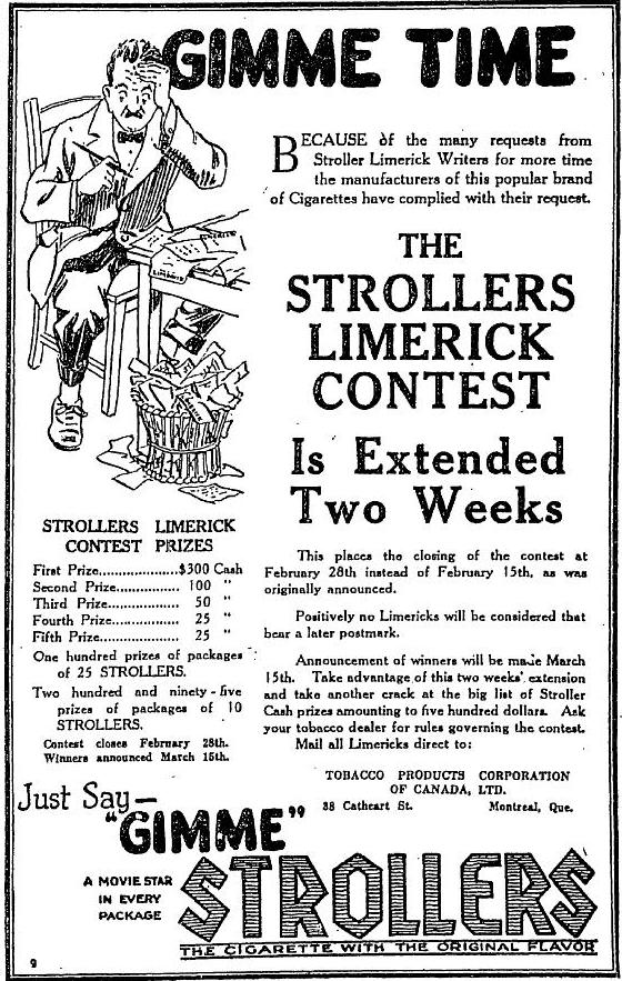 Strollers Movie Limerick Contest February 19 ad