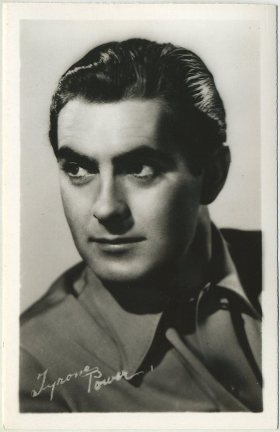 Tyrone Power circa 1940 EKC Postcard