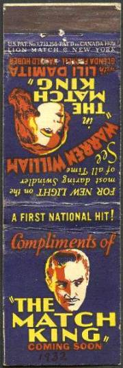 Warren William Matchbook promoting The Match King