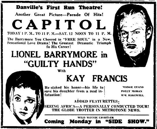 Guilty Hands newspaper ad