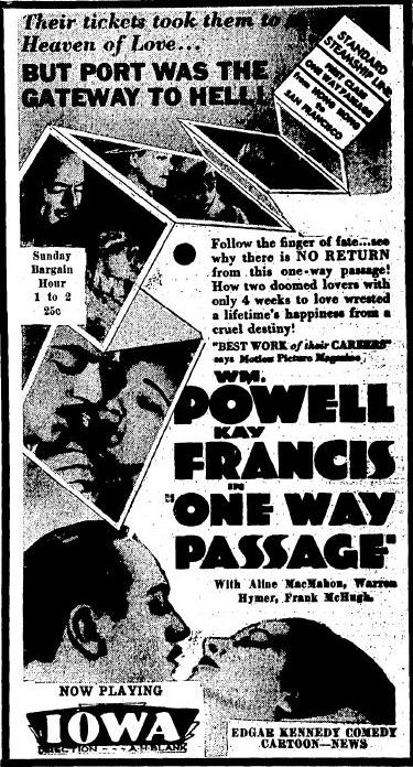 One Way Passage newspaper ad