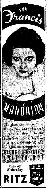 Mandalay newspaper ad