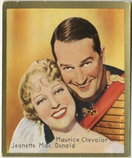 Jeanette MacDonald and Maurice Chevalier 1935 Bulgaria brand Tobacco Card