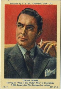 Tyrone Power 1953 A and BC Trading Card