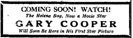 Helena Independent Gary Cooper ad June 21 1927