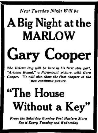 Helena Independent Gary Cooper ad June 26 1927