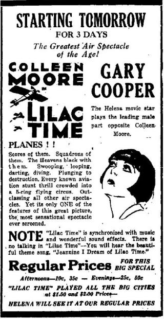 Helena Independent Gary Cooper ad June 2 1929