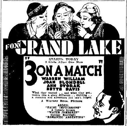 Three On a Match advertisement