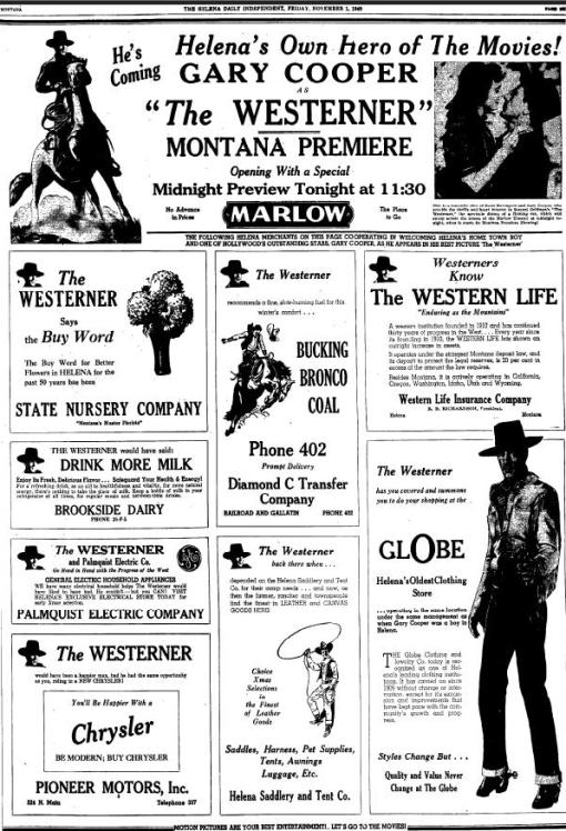 Gary Cooper The Westerner advertisement 1940