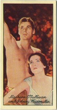 Johnny Weissmuller and Maureen O'Sullivan 1935 Carreras Film Stars card
