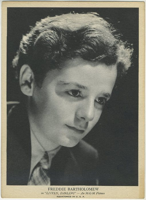 Freddie Bartholomew R96 card promoting Listen Darling