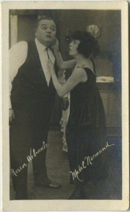 Roscoe Arbuckle and Mabel Normand late 1910s Kinema Theater Trading Card