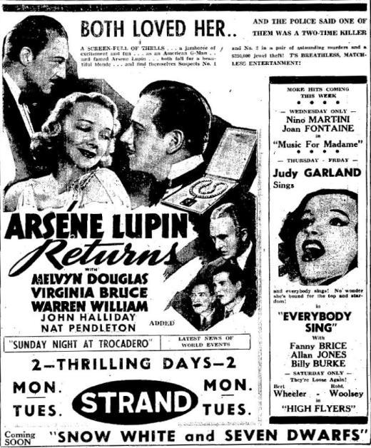 Arsene Lupin Returns advertisement