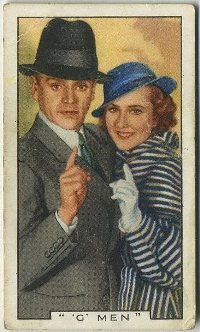 James Cagney and Margaret Lindsay in GMen 1936 Gallaher Tobacco Card