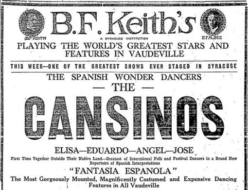 1922 ad for The Cansinos