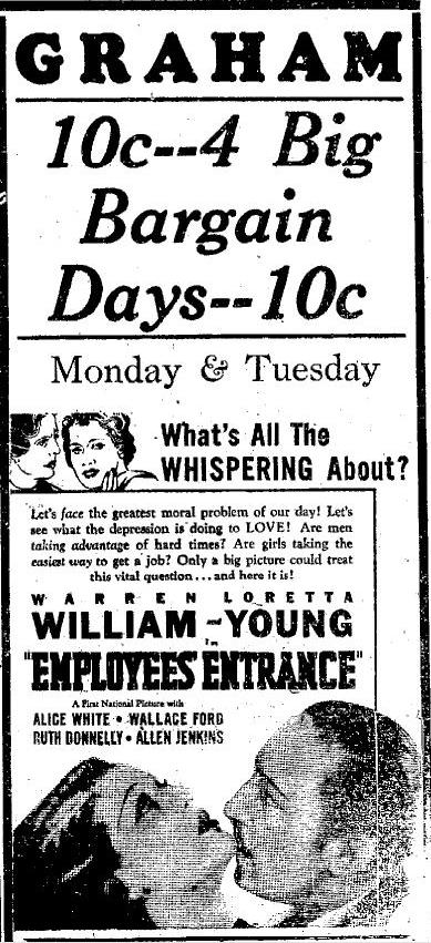 Employees' Entrance advertisement