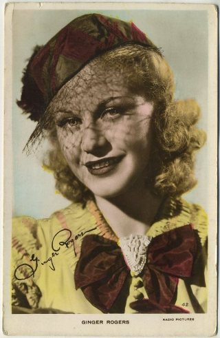 Ginger Rogers 1930s real photo color toned postcard