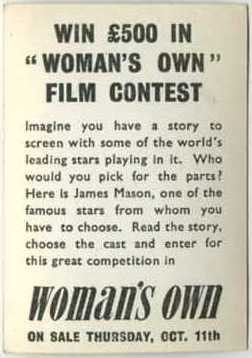 Reverse side of James Mason 1955 Womans Own Trading Card