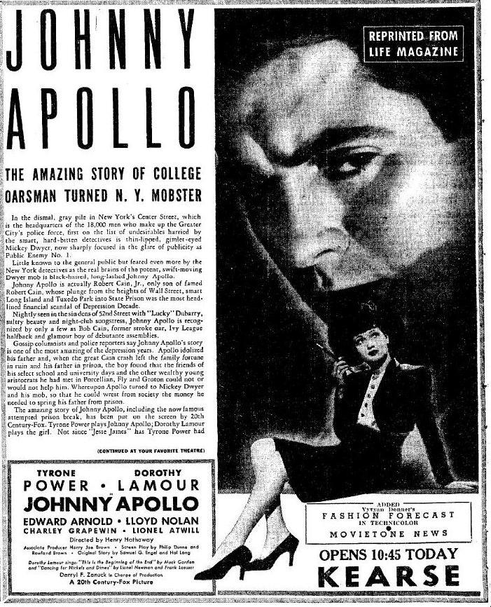 Johnny Apollo advertisement