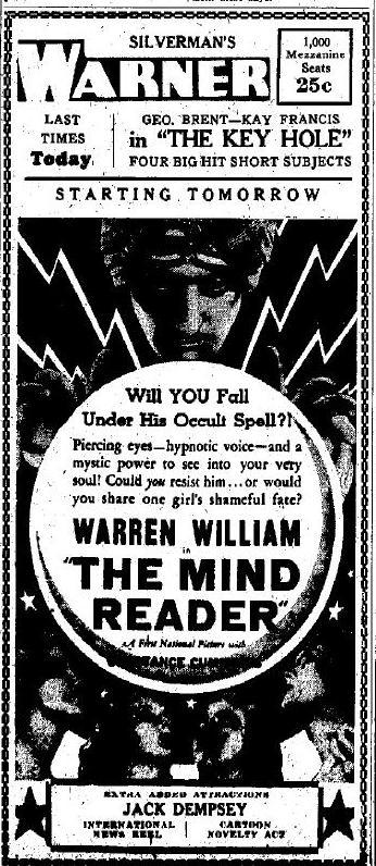 The Mind Reader advertisement