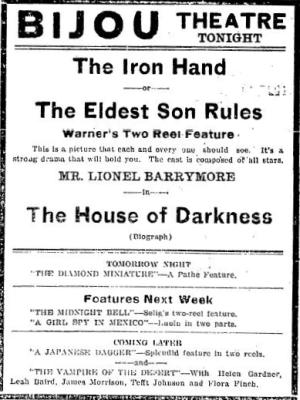 Lionel Barrymore June 25 1913 movie advertisement