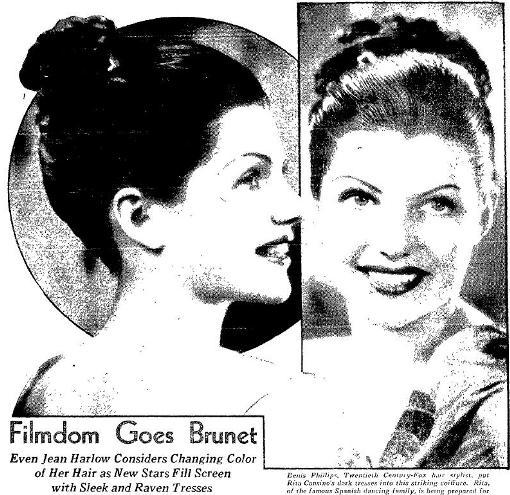 Filmdom Goes Brunett from Oakland Tribune November 10, 1935
