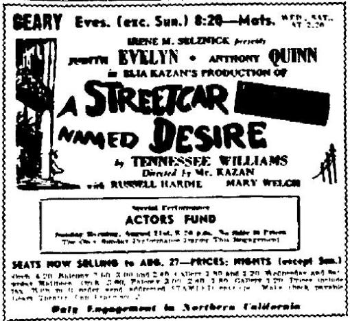 A Streetcar Named Desire 1949 touring company advertisement