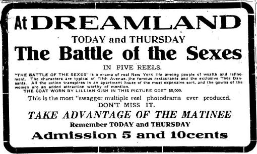 1914 newspaper ad for The Battle of the Sexes