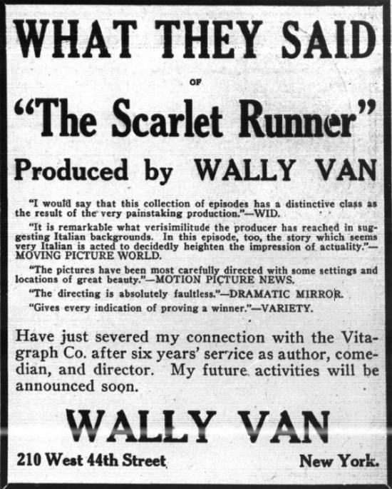 Wally Van self-promotion in 1917 Variety