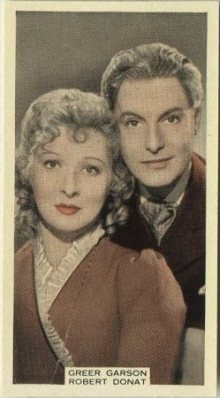 Greer Garson and Robert Donat 1939 A and M Wix Tobacco Card