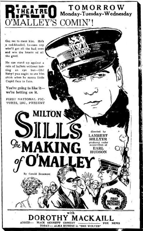 Advertisement featuring Milton Sills in The Making of O'Malley